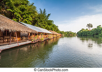 Raft resort at Kwai noi river,Kanchanaburi Thailand