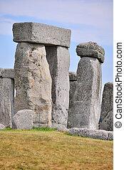 Telephoto shot isolating some of the stones at Stonhege -...