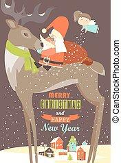 Santa Claus sitting on reindeer. Vector greeting card
