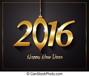 2016  Happy New Year golden letters Flyers, covers, posters and pages black background