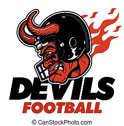 devils football team design with devil mascot head wearing...