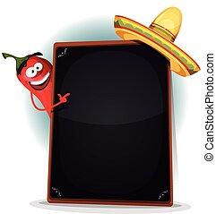 Tex Mex Menu With Chili Pepper And Sombrero