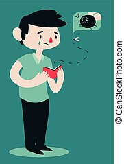 Sad Broken Man Opening Wallet - Vector illustration of a...