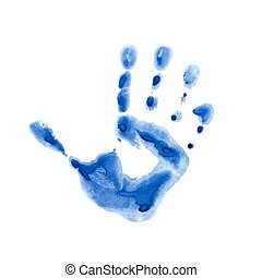 Watercolor print of children palm - Watercolor blue print of...