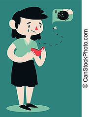 Sad Broken Woman Opening Wallet - Vector illustration of a...