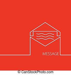 mensaje,  vector, rojo