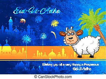 Eid ul Adha, Happy Bakra Id background - illustration of...