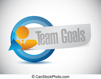 Team goals cycle sign concept illustration design graphic