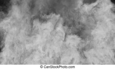 Rising Smoke - Puffs of the dense smoke on a black...