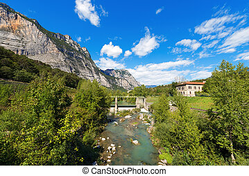 Sarca River - Trentino Italy - The Sarca River with old dam...