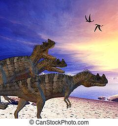 Ceratosaurus on the Prowl - Ceratosaurus dinosaurs search...