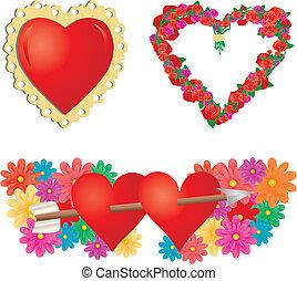 2, parte, jogo, corações,  valentines