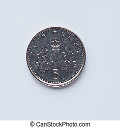 UK 5 pence coin - Currency of the United Kingdom 5 pence...
