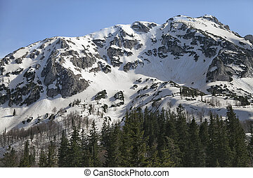 National park Durmitor, Serbia - Mountain covered with snow,...