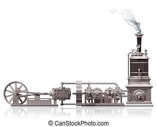 Steam plant motif - Original illustration of a steam plant...