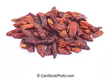 dried chilis on white background