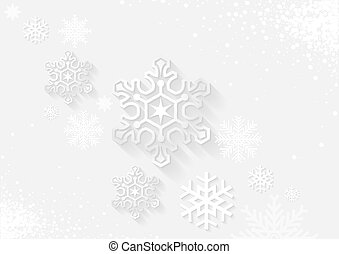 White Christmas Greeting with Snowflakes - Background...