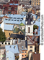 historic center of the city Lviv, top view