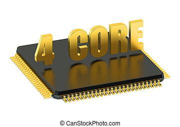 CPU 4 core chip for smatphone and tablet isolated on white...