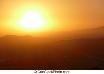 Suburban Sunset in Simi Valley California - Suburban sunset...
