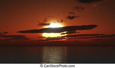big sun sunset in ocean 4k