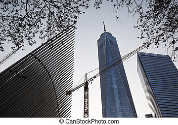 Manhattan modern architecture in the evening Manhattan is...