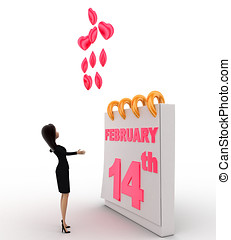 3d woman with 14th february valentine day and 39;s and pink...