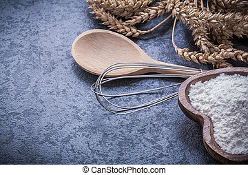 Ripe wheat rye ears wooden spoon bowl flour egg whisk