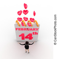 3d woman with 14th february valentine day's and pink...