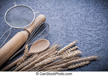 Wheat rye ears spoon rolling-pin egg whisk sieve