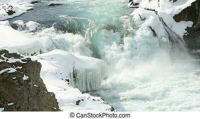 Waterfall Dettifoss in wintertime - Waterfall Dettifoss in...