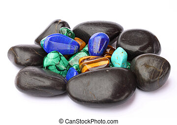Semi-precious stones - semi-precious stones isolated on...
