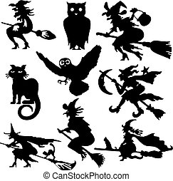 Silhouettes of witch flying on broom vector illustration...