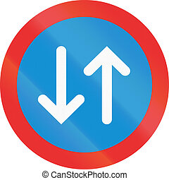 Two-Way Traffic In Mexico - Two-way Traffic sign in the...