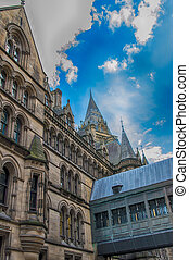 Manchester - Old buildings in the city center of Manchester,...