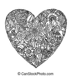 Pattern for coloring book - heart-shaped pattern for...