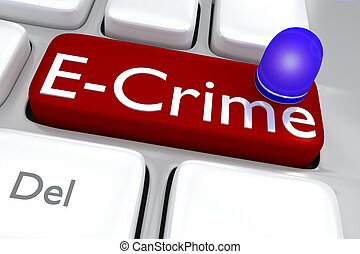 E-crime concept - Render illustration of computer keyboard...