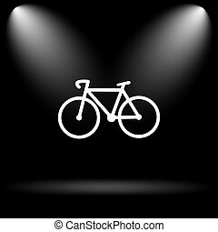 Bicycle icon Internet button on black background