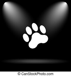 Paw print icon Internet button on black background