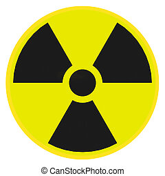 Radioactive warning sign - Render illustration of...