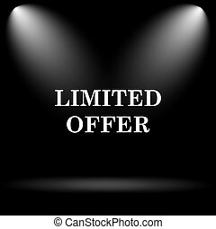 Limited offer icon. Internet button on black background.