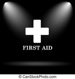 First aid icon Internet button on black background