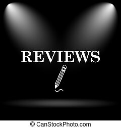 Reviews icon. Internet button on black background.