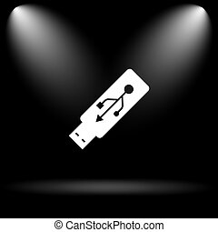 Usb flash drive icon Internet button on black background
