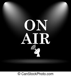 On air icon. Internet button on black background.
