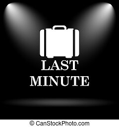 Last minute icon Internet button on black background
