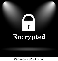 Encrypted icon Internet button on black background