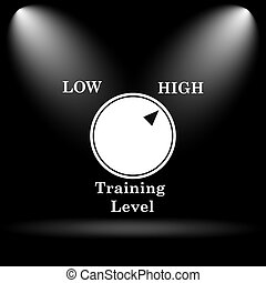 Training level icon Internet button on black background