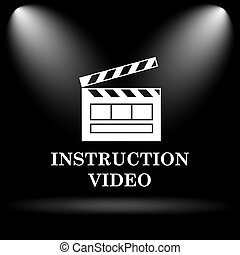Instruction video icon. Internet button on black background....