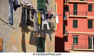 hanging clothes in camogli - characteristic Italian town...